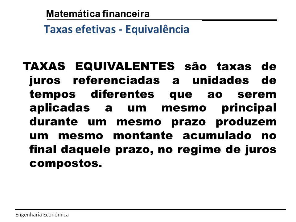 Engenharia Econômica Matemática financeira Taxas efetivas Pressupõe a incidência de juros uma única vez em cada período a que se refere; isto é a unidade de referência de seu tempo coincide com a unidade de tempo de períodos de capitalização.