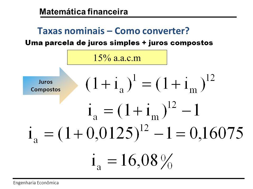 Engenharia Econômica Matemática financeira SÉRIES DE PAGAMENTO Vimos em slides anteriores que os fluxos de caixas apresentados tinham sempre dois pagamentos, normalmente o valor presente P e o valor futuro F.