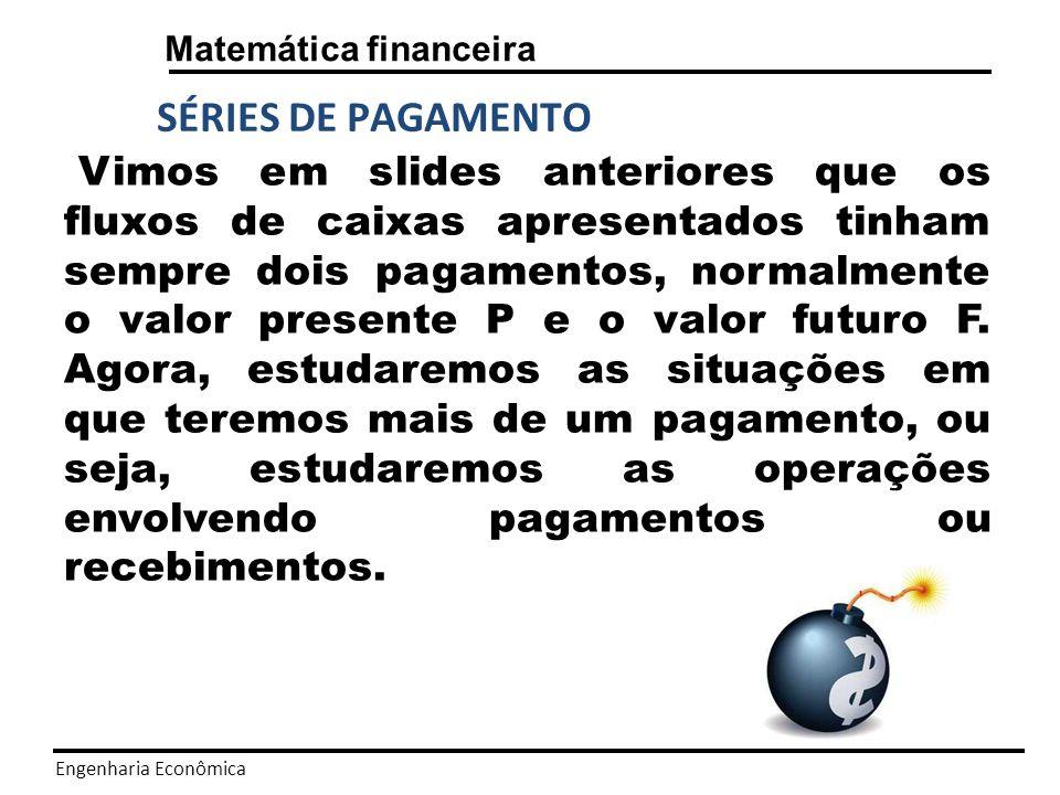 Engenharia Econômica Matemática financeira SÉRIES DE PAGAMENTO Série de pagamento uniforme: Em todo o período considerado haverá a entrada ou saída de pagamentos, com o mesmo valor A.