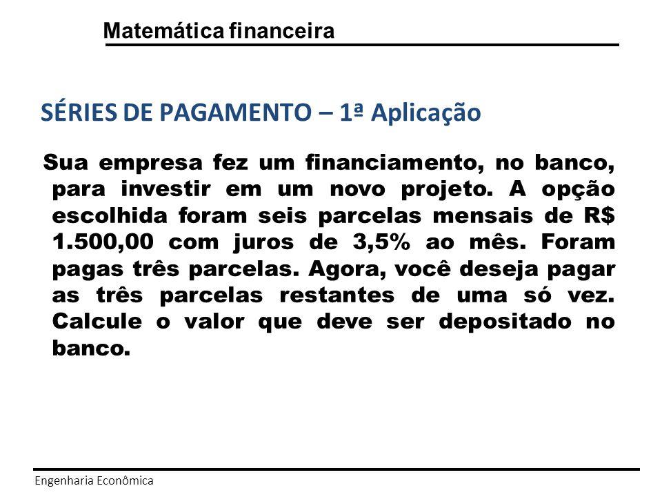 Engenharia Econômica Matemática financeira SÉRIES DE PAGAMENTO - Solução A = R$ 1.500,00; n = 3; i = 3,5% ao mês.
