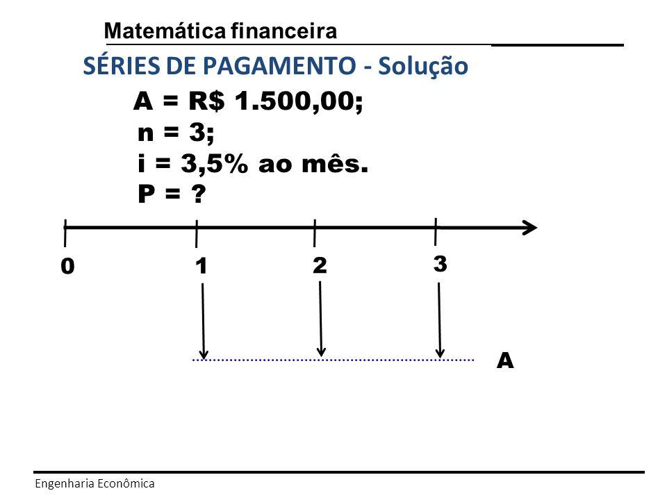 Engenharia Econômica Matemática financeira SÉRIES DE PAGAMENTO - Solução P = R$ 4202,46