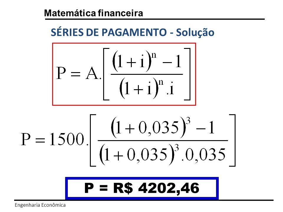 Engenharia Econômica Matemática financeira SÉRIES DE PAGAMENTO F =? 1n A