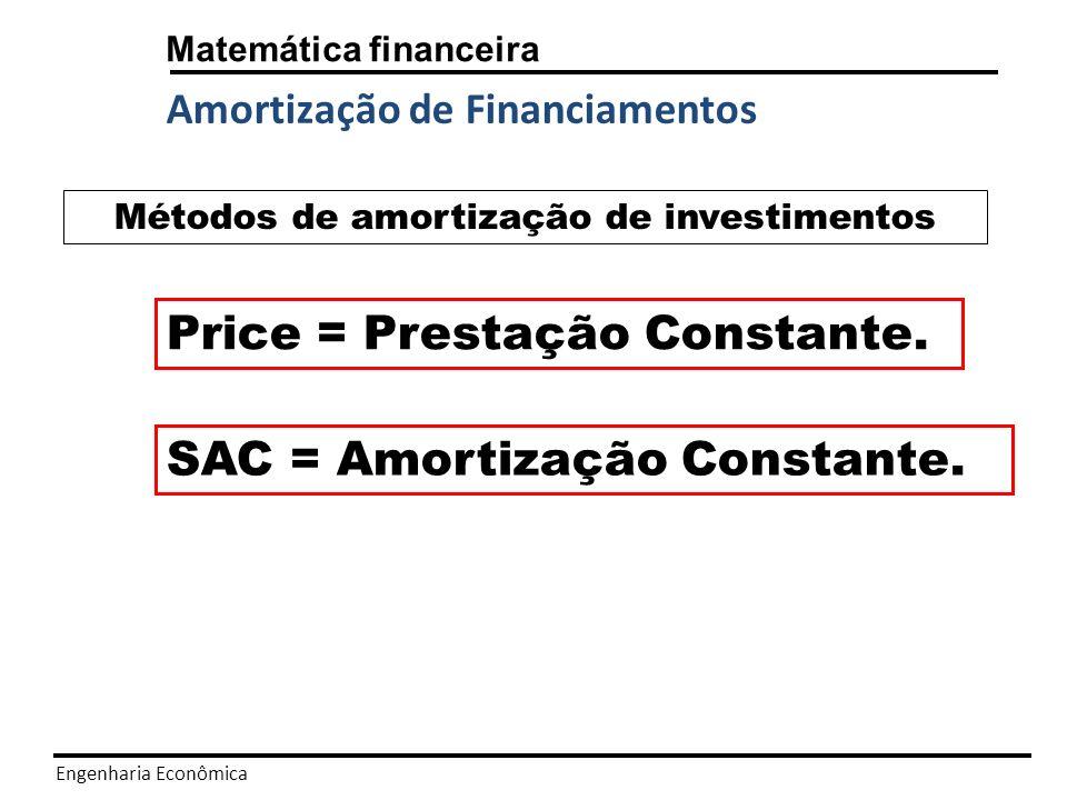 Engenharia Econômica Matemática financeira Amortização de Financiamentos Price = Prestação Constante.
