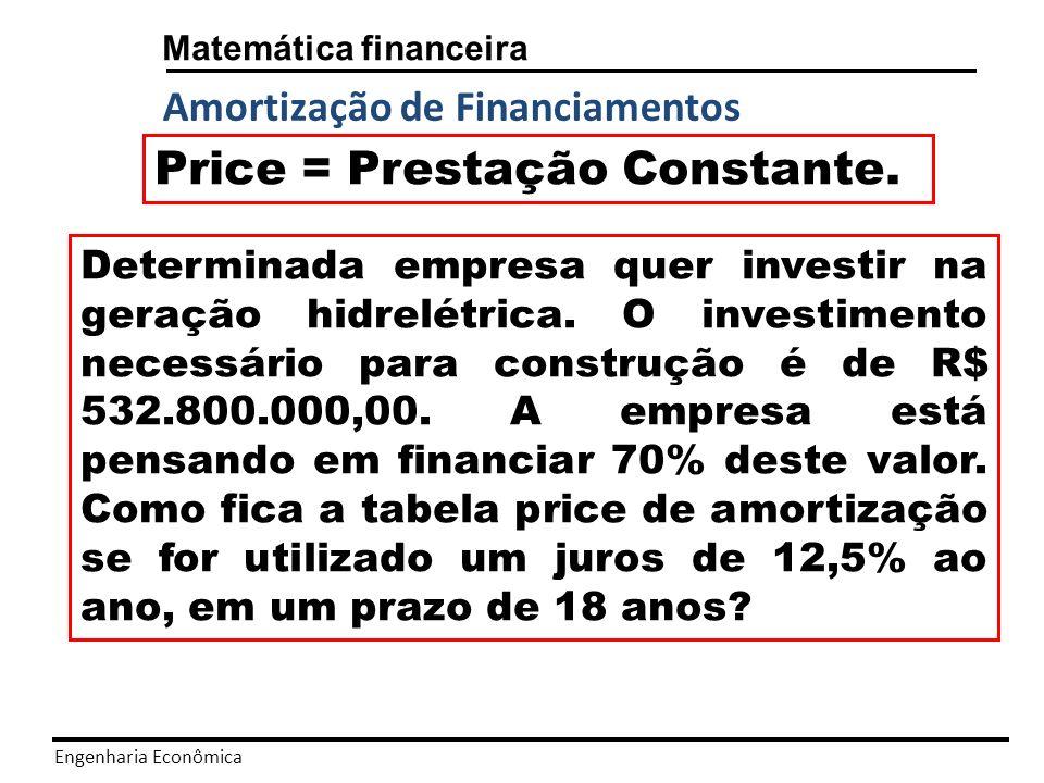 Engenharia Econômica Matemática financeira Amortização de Financiamentos -Price