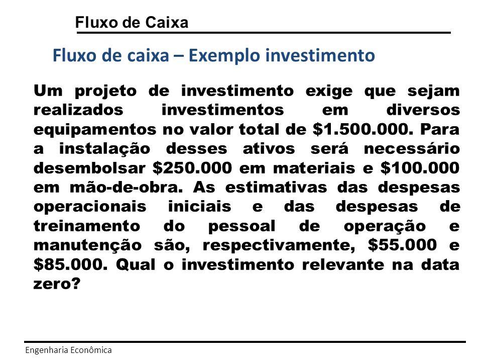 Engenharia Econômica Fluxo de Caixa Fluxo de caixa – Exemplo investimento