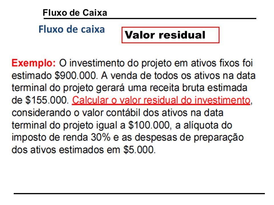 Fluxo de Caixa Valor residual Fluxo de caixa