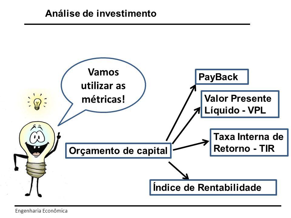 Engenharia Econômica O PayBack simples é a medida do tempo necessário para se recuperar o capital investido.