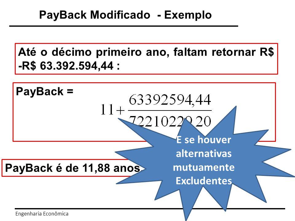 Engenharia Econômica O PayBack foi aplicado para definir o tempo de recuperação de capital investido no caso de uma alternativa.