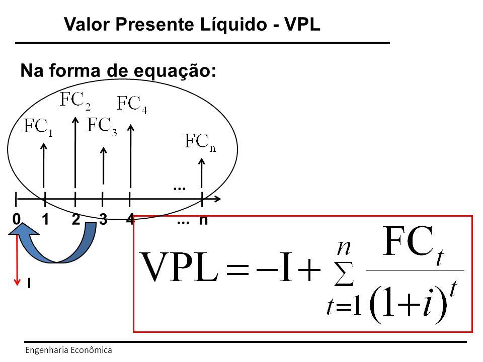 Engenharia Econômica Critério de aceitação: Se o VPL > 0, aceito o investimento Se o VPL < 0, recuso o investimento Se o VPL = 0, o investimento não oferece ganho ou prejuízo.