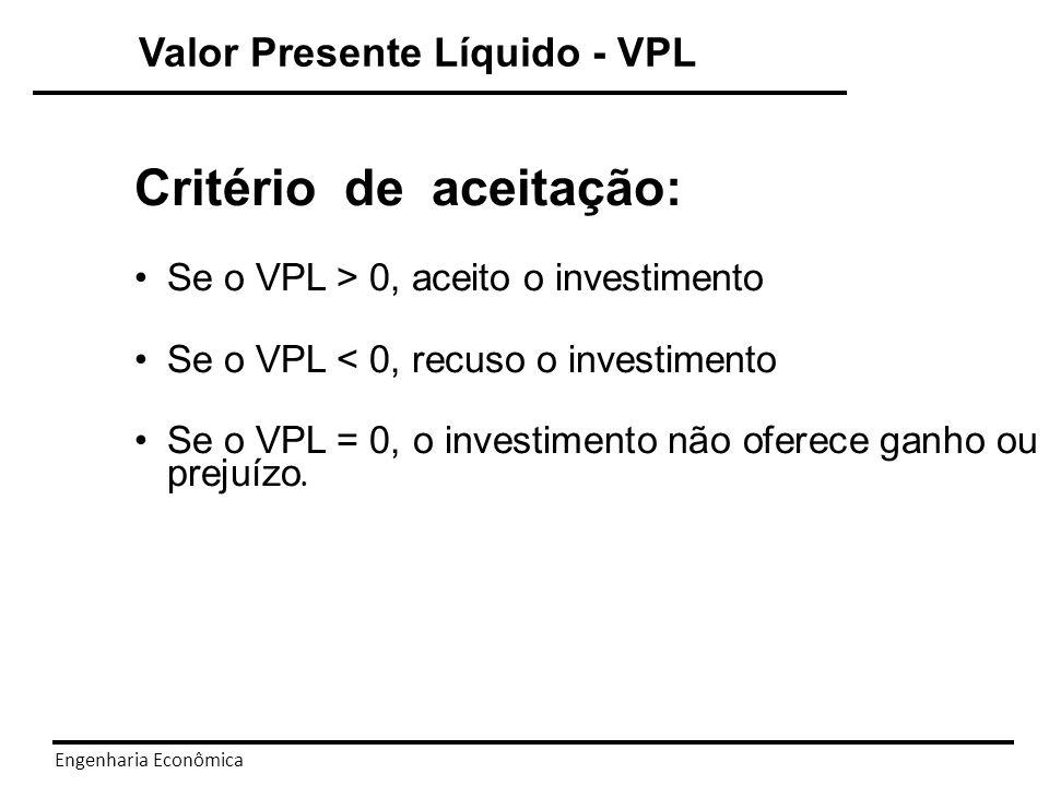 Engenharia Econômica Valor Presente Líquido - VPL A decisão com o método do VPL também pode ser representada com a decisão: O primeiro argumento do entre colchetes é o VPL do projeto, e o segundo argumento é o valor zero.