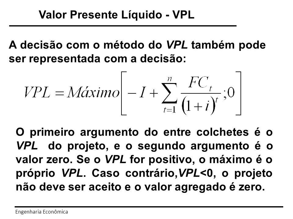 Engenharia Econômica Valor Presente Líquido - VPL