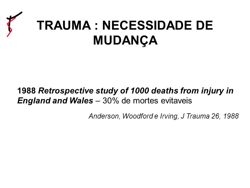 1988 Retrospective study of 1000 deaths from injury in England and Wales – 30% de mortes evitaveis Anderson, Woodford e Irving, J Trauma 26, 1988 TRAU