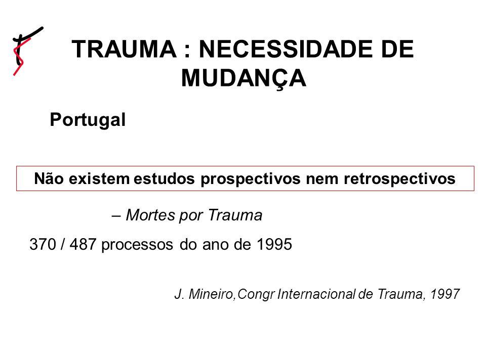 Evolucao nas ultimas decadas Portugal 1997 IMLL – Mortes por Trauma 370 / 487 processos do ano de 1995 J.
