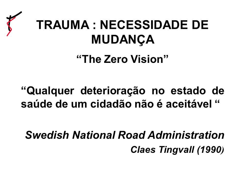 The Zero Vision Qualquer deterioração no estado de saúde de um cidadão não é aceitável Swedish National Road Administration Claes Tingvall (1990 ) TRAUMA : NECESSIDADE DE MUDANÇA
