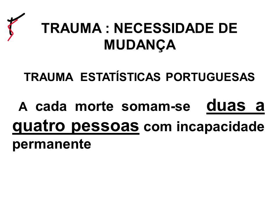 TRAUMA ESTATÍSTICAS PORTUGUESAS A cada morte somam-se duas a quatro pessoas com incapacidade permanente TRAUMA : NECESSIDADE DE MUDANÇA