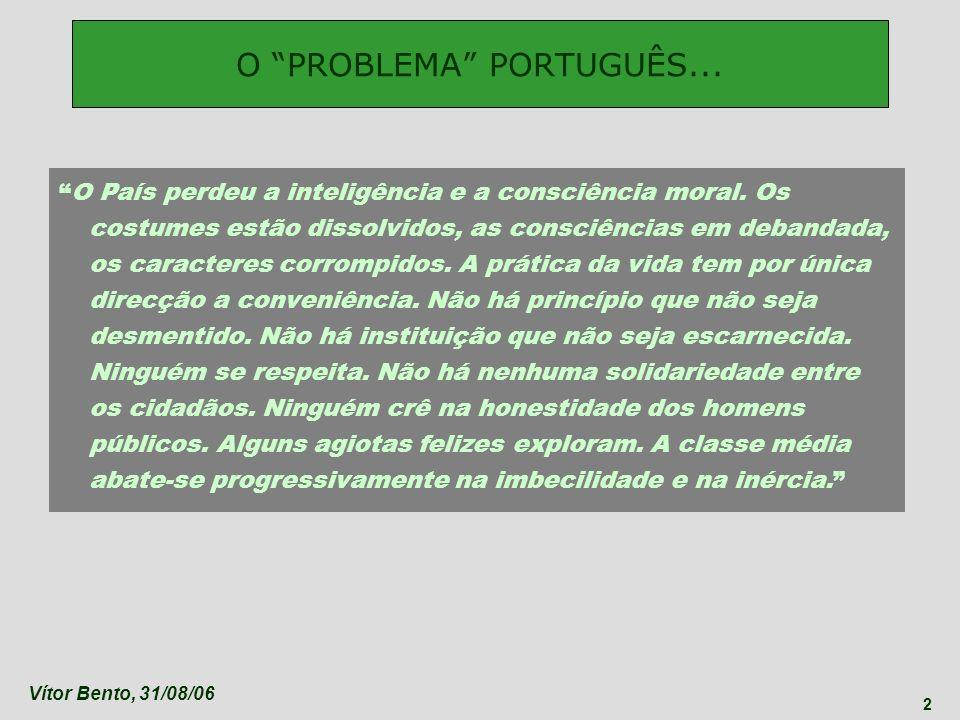 Vítor Bento, 31/08/06 43 Em Portugal nada nem ninguém pode ser grande, nem sequer ladrão.