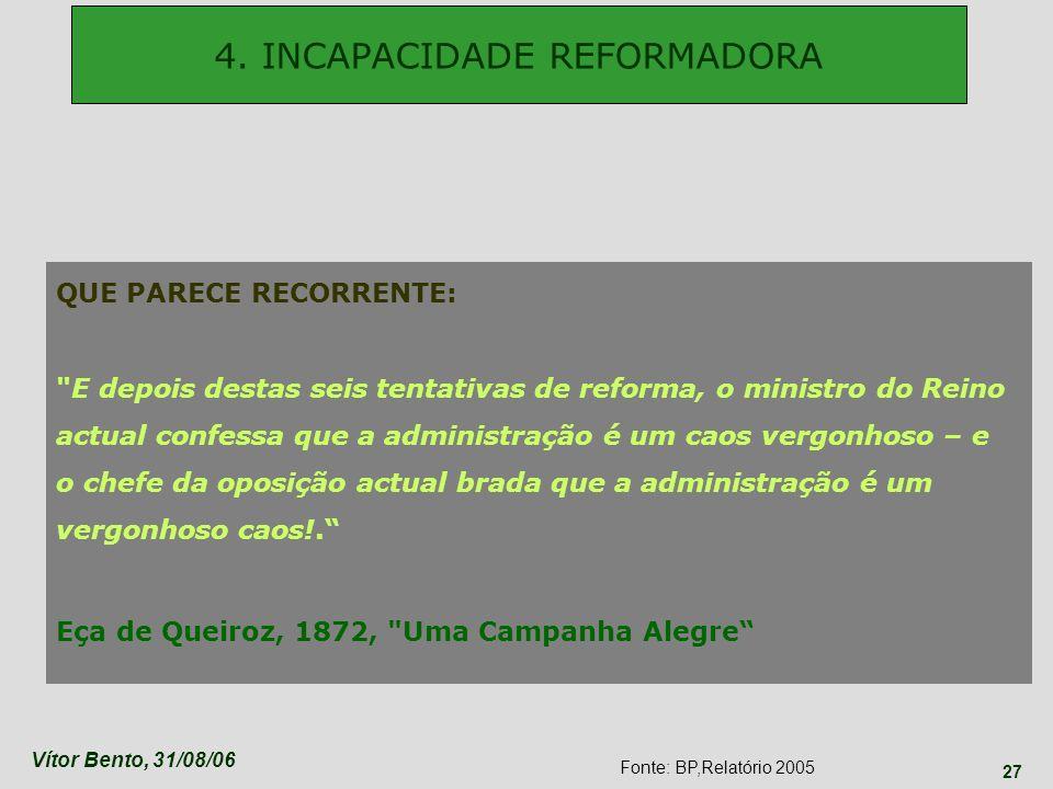 Vítor Bento, 31/08/06 27 progressos limitados em matéria de reformas institucionais, nomeadamente destinadas a promover um adequado ajustamento dos me