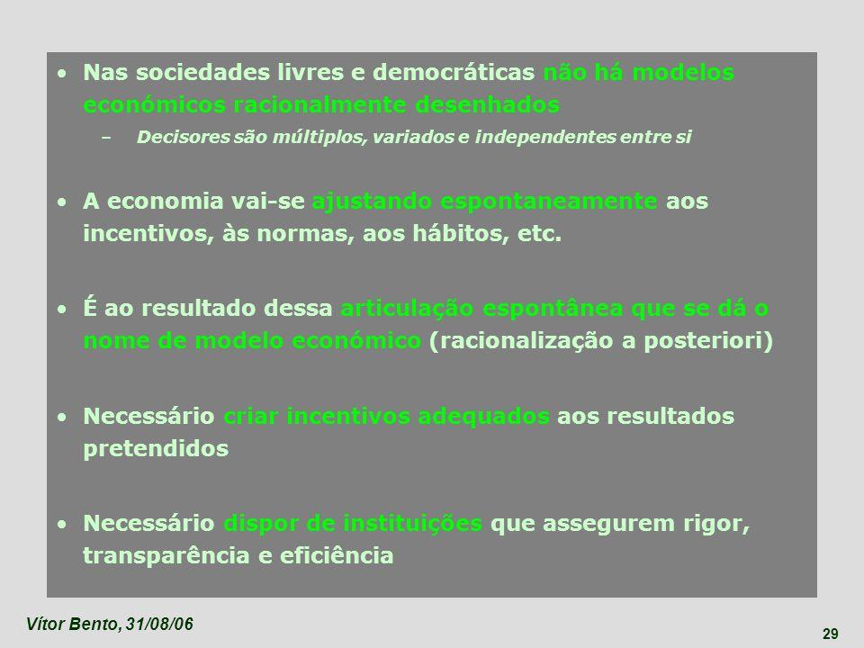 Vítor Bento, 31/08/06 29 Nas sociedades livres e democráticas não há modelos económicos racionalmente desenhados –Decisores são múltiplos, variados e