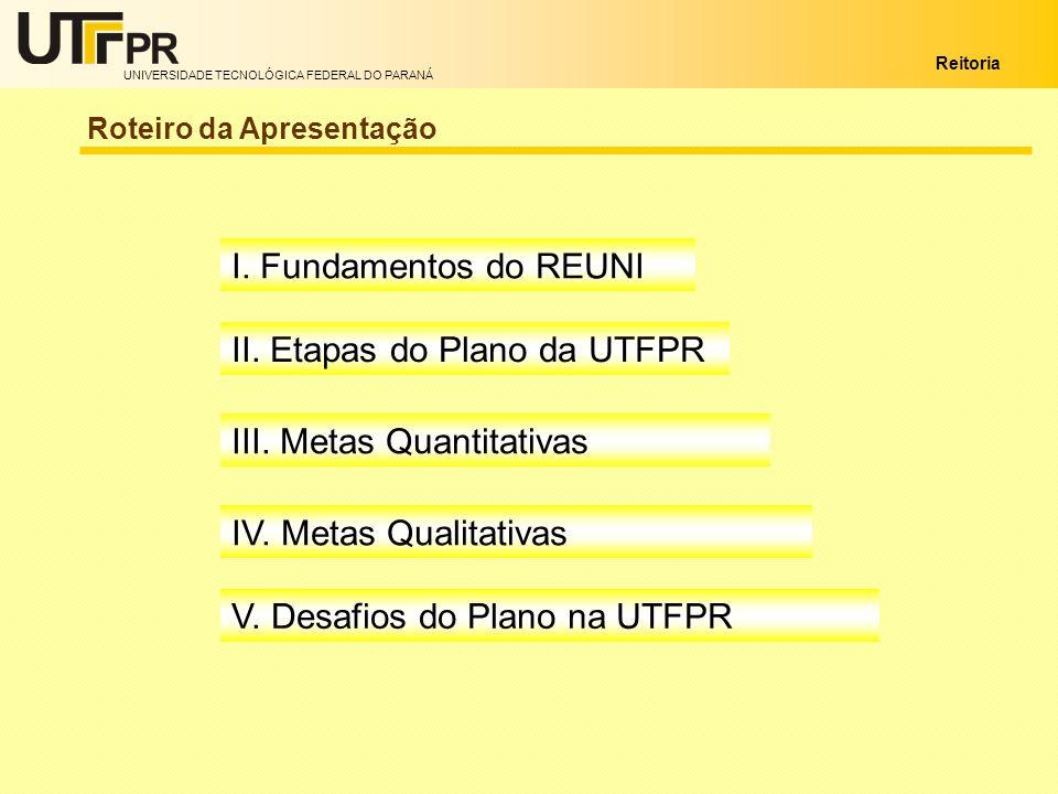 UNIVERSIDADE TECNOLÓGICA FEDERAL DO PARANÁ Reitoria Roteiro da Apresentação I. Fundamentos do REUNI II. Etapas do Plano da UTFPR III. Metas Quantitati