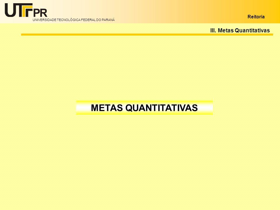 UNIVERSIDADE TECNOLÓGICA FEDERAL DO PARANÁ Reitoria III. Metas Quantitativas METAS QUANTITATIVAS
