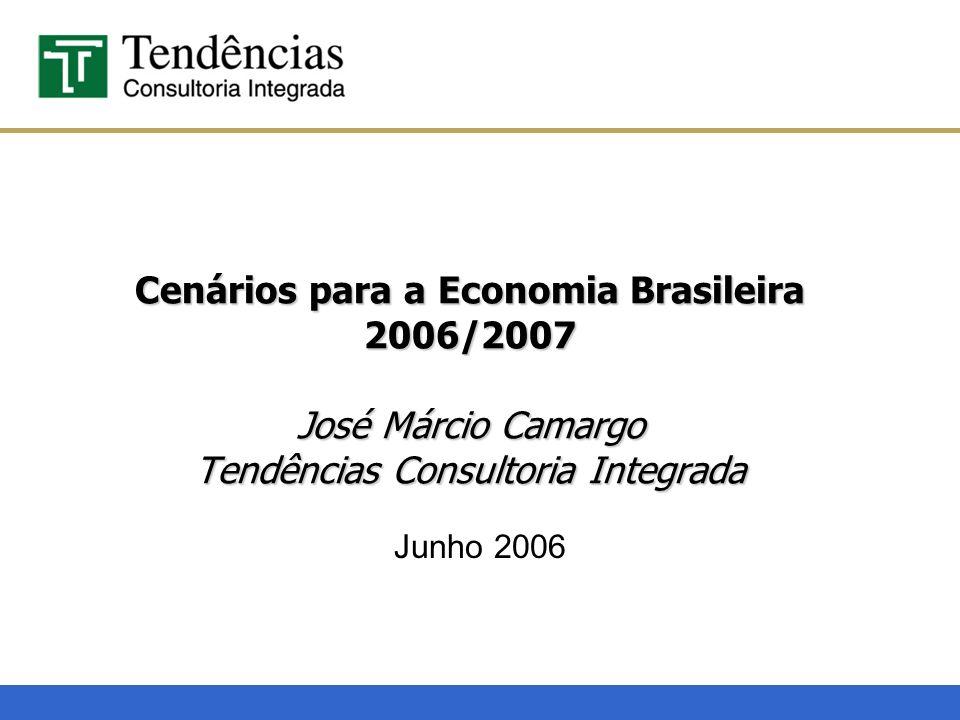 Cenários para a Economia Brasileira 2006/2007 José Márcio Camargo Tendências Consultoria Integrada Junho 2006