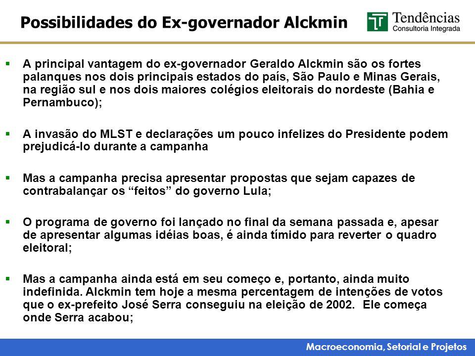 Macroeconomia, Setorial e Projetos Possibilidades do Ex-governador Alckmin A principal vantagem do ex-governador Geraldo Alckmin são os fortes palanqu