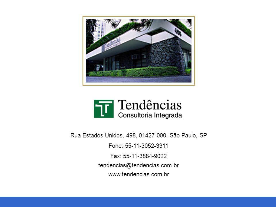 Macroeconomia, Setorial e Projetos Rua Estados Unidos, 498, 01427-000, São Paulo, SP Fone: 55-11-3052-3311 Fax: 55-11-3884-9022 tendencias@tendencias.