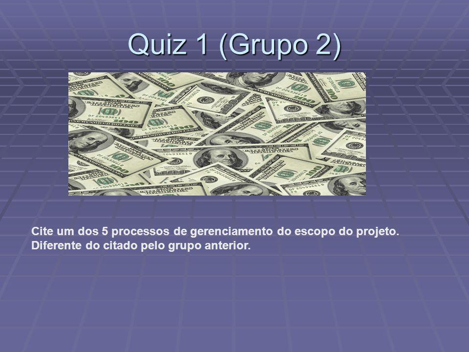 Quiz 1 (Grupo 2) Cite um dos 5 processos de gerenciamento do escopo do projeto. Diferente do citado pelo grupo anterior.