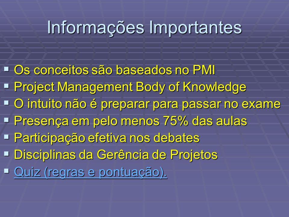 Informações Importantes Os conceitos são baseados no PMI Os conceitos são baseados no PMI Project Management Body of Knowledge Project Management Body