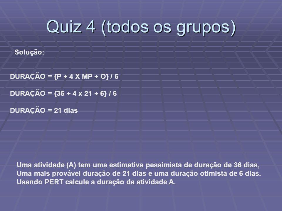 Quiz 4 (todos os grupos) Uma atividade (A) tem uma estimativa pessimista de duração de 36 dias, Uma mais provável duração de 21 dias e uma duração oti