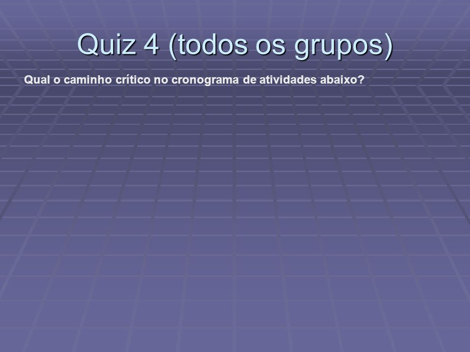 Quiz 4 (todos os grupos) Qual o caminho crítico no cronograma de atividades abaixo?