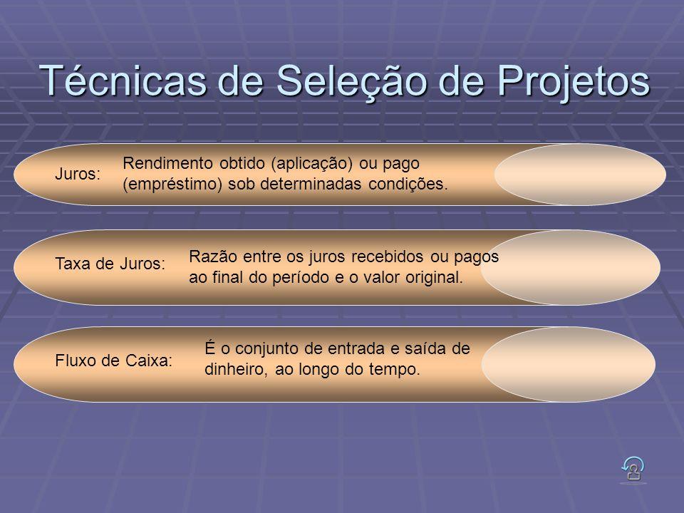 Técnicas de Seleção de Projetos Juros: Rendimento obtido (aplicação) ou pago (empréstimo) sob determinadas condições. Taxa de Juros: Razão entre os ju
