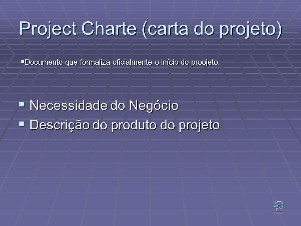 Project Charte (carta do projeto) Necessidade do Negócio Necessidade do Negócio Descrição do produto do projeto Descrição do produto do projeto Docume