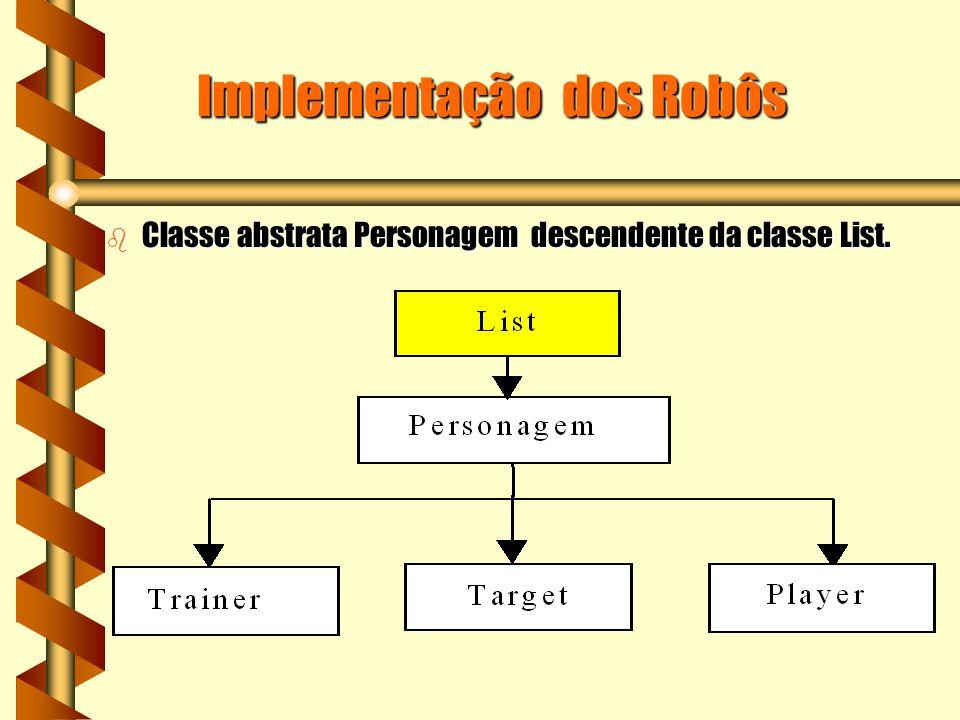 Implementação dos Robôs b Classe abstrata Personagem descendente da classe List.