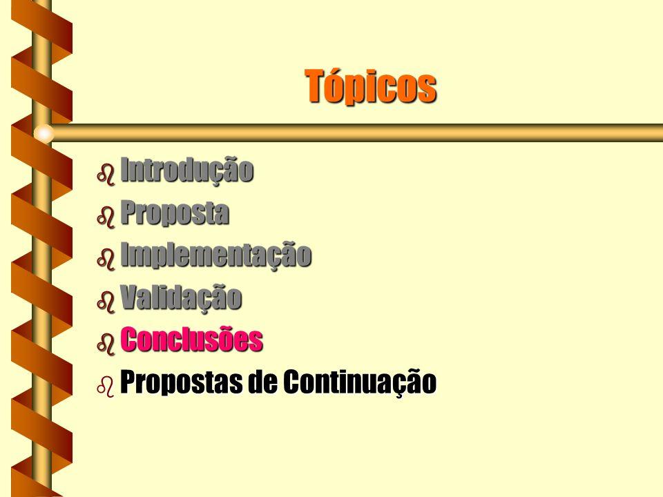 Tópicos b Introdução b Proposta b Implementação b Validação b Conclusões b Propostas de Continuação