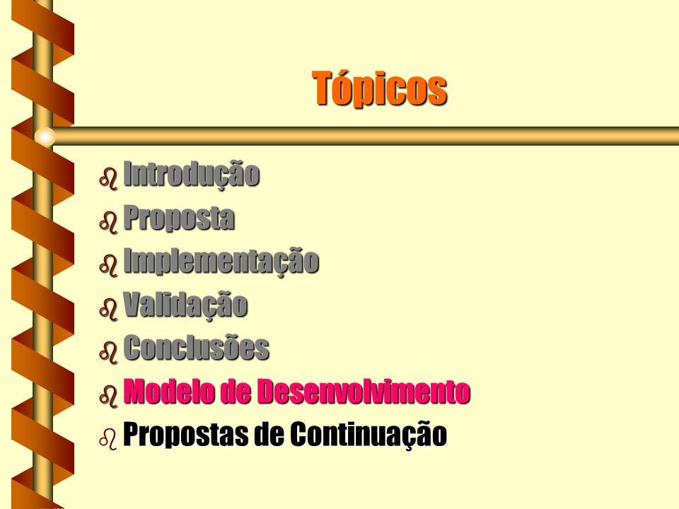 Tópicos b Introdução b Proposta b Implementação b Validação b Conclusões b Modelo de Desenvolvimento b Propostas de Continuação