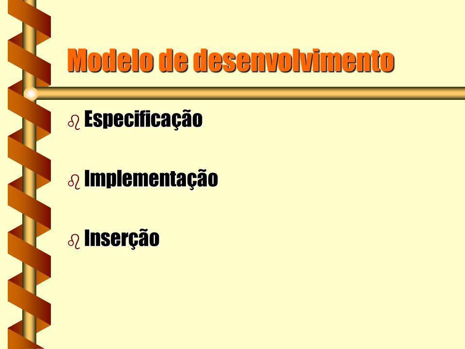 Modelo de desenvolvimento b Especificação b Implementação b Inserção