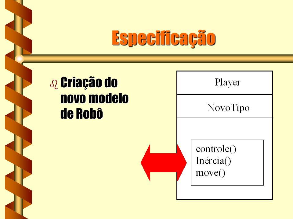 Especificação b Criação do novo modelo de Robô