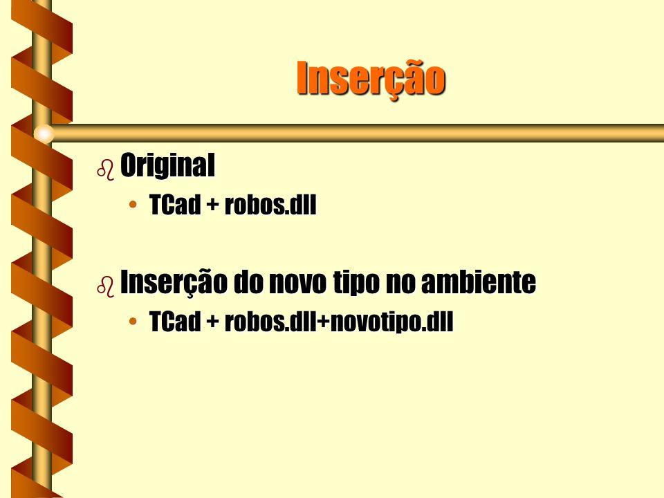 Inserção b Original TCad + robos.dllTCad + robos.dll b Inserção do novo tipo no ambiente TCad + robos.dll+novotipo.dllTCad + robos.dll+novotipo.dll