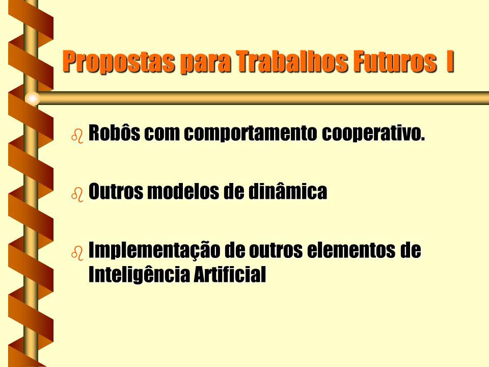 Propostas para Trabalhos Futuros I b Robôs com comportamento cooperativo.