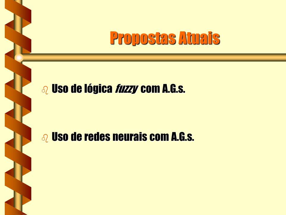 Propostas Atuais b Uso de lógica fuzzy com A.G.s. b Uso de redes neurais com A.G.s.