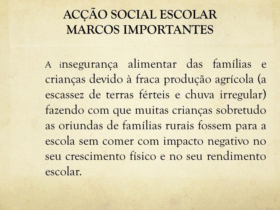 ACÇÃO SOCIAL ESCOLAR MARCOS IMPORTANTES A i nsegurança alimentar das famílias e crianças devido à fraca produção agrícola (a escassez de terras fértei