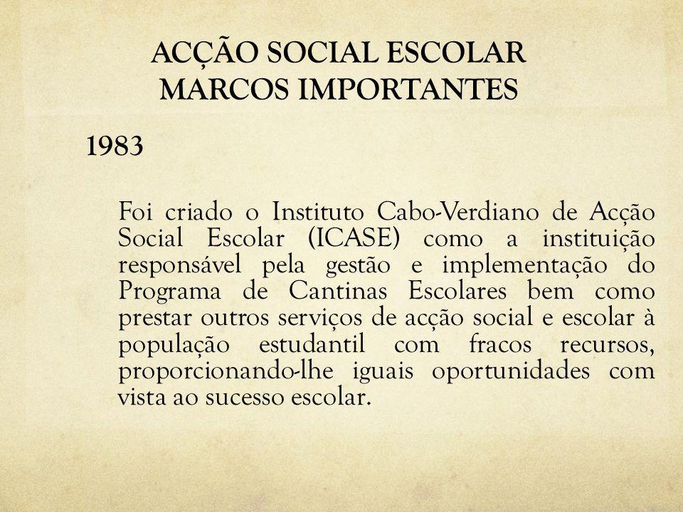 ACÇÃO SOCIAL ESCOLAR MARCOS IMPORTANTES 1983 Foi criado o Instituto Cabo-Verdiano de Acção Social Escolar (ICASE) como a instituição responsável pela