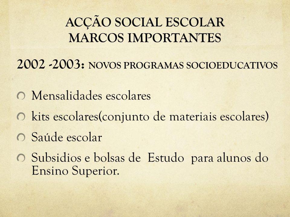 ACÇÃO SOCIAL ESCOLAR MARCOS IMPORTANTES 2002 -2003: NOVOS PROGRAMAS SOCIOEDUCATIVOS Mensalidades escolares kits escolares(conjunto de materiais escolares) Saúde escolar Subsidios e bolsas de Estudo para alunos do Ensino Superior.