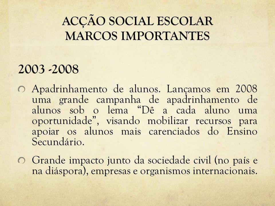 ACÇÃO SOCIAL ESCOLAR MARCOS IMPORTANTES 2003 -2008 Apadrinhamento de alunos. Lançamos em 2008 uma grande campanha de apadrinhamento de alunos sob o le