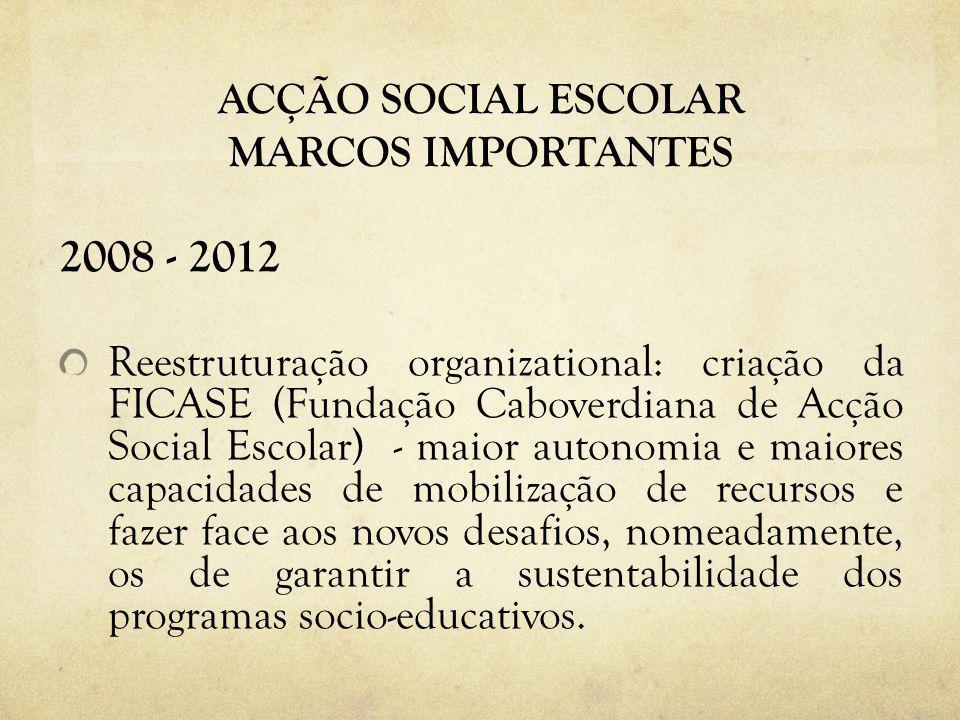 ACÇÃO SOCIAL ESCOLAR MARCOS IMPORTANTES 2008 - 2012 Reestruturação organizational: criação da FICASE (Fundação Caboverdiana de Acção Social Escolar) -