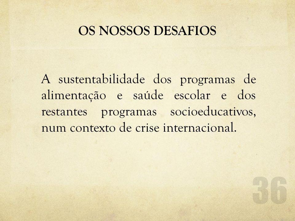 OS NOSSOS DESAFIOS A sustentabilidade dos programas de alimentação e saúde escolar e dos restantes programas socioeducativos, num contexto de crise internacional.