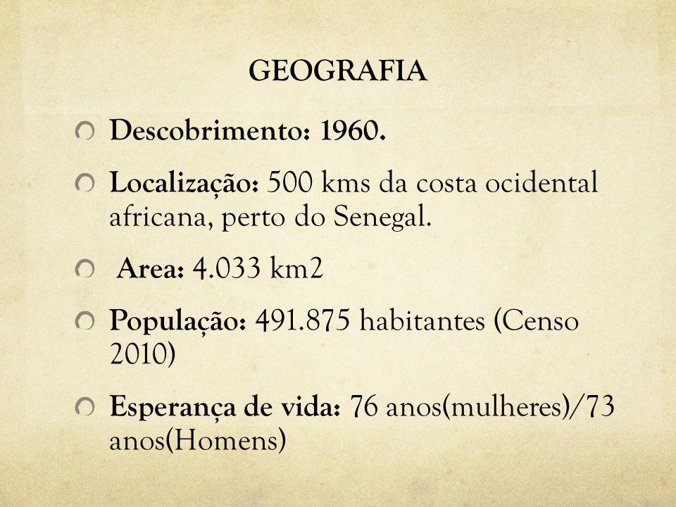 GEOGRAFIA Descobrimento: 1960. Localização: 500 kms da costa ocidental africana, perto do Senegal. Area: 4.033 km2 População: 491.875 habitantes (Cens