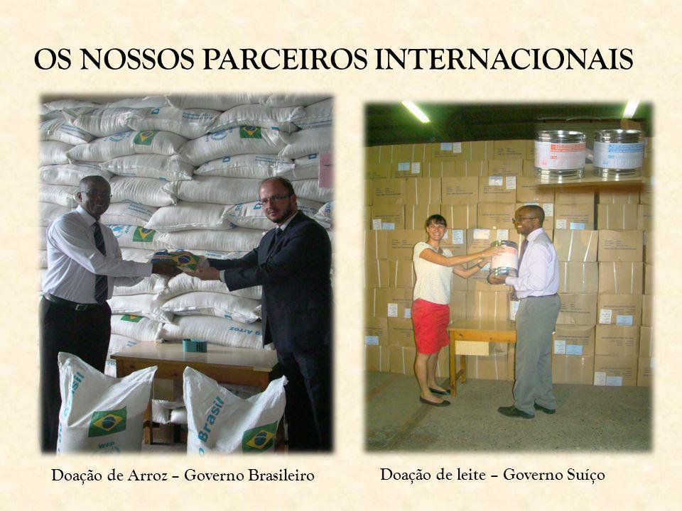 Doação de leite – Governo Suíço Doação de Arroz – Governo Brasileiro OS NOSSOS PARCEIROS INTERNACIONAIS