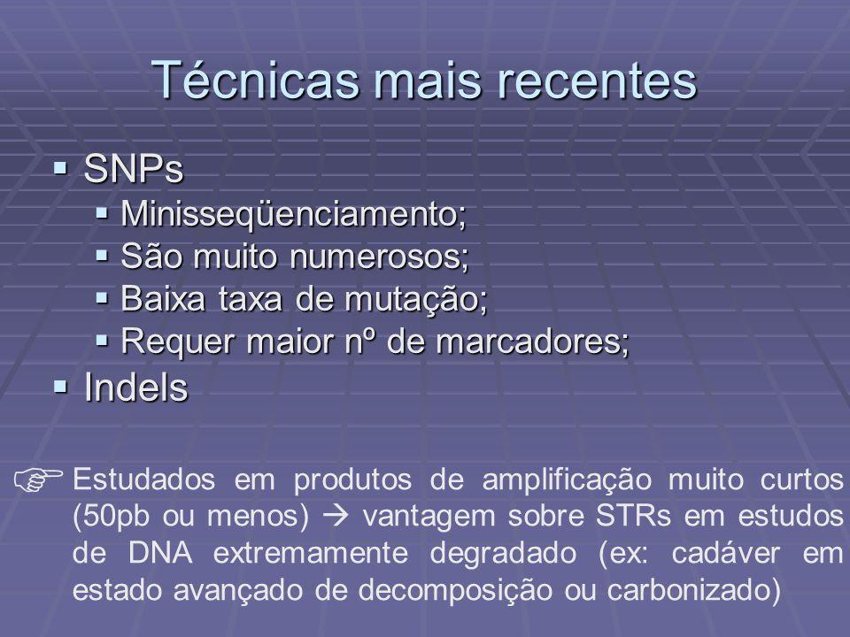 Técnicas mais recentes SNPs SNPs Minisseqüenciamento; Minisseqüenciamento; São muito numerosos; São muito numerosos; Baixa taxa de mutação; Baixa taxa